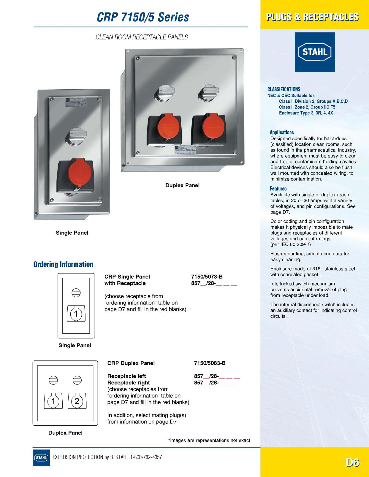 Plugs Receptacles R Stahl Electrical Catalog 9016 Page D6 Wiring Receptacle In Series