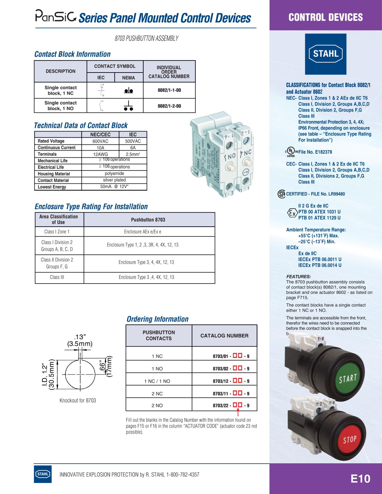 Control Devices - R Stahl Electrical Catalog 9016 Page E10