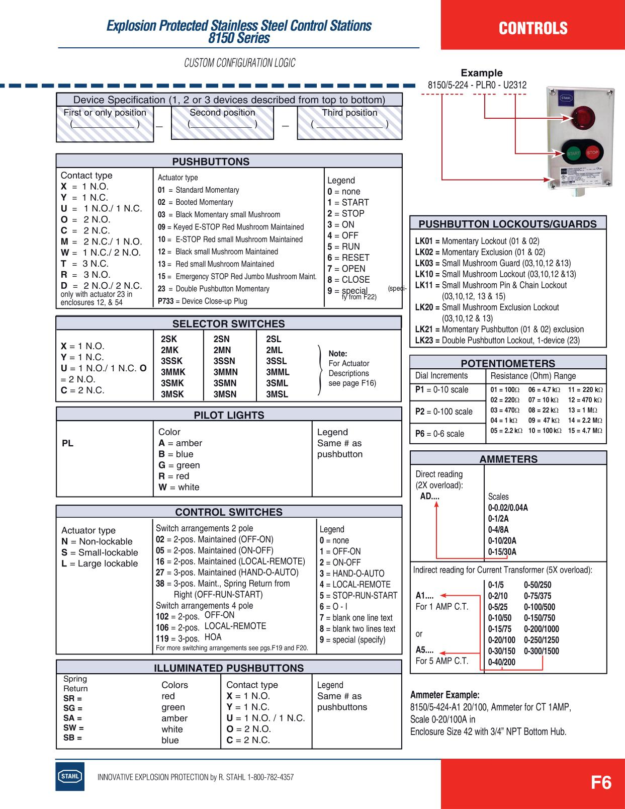 Control Stations - R Stahl Electrical Catalog 9016 Page F6