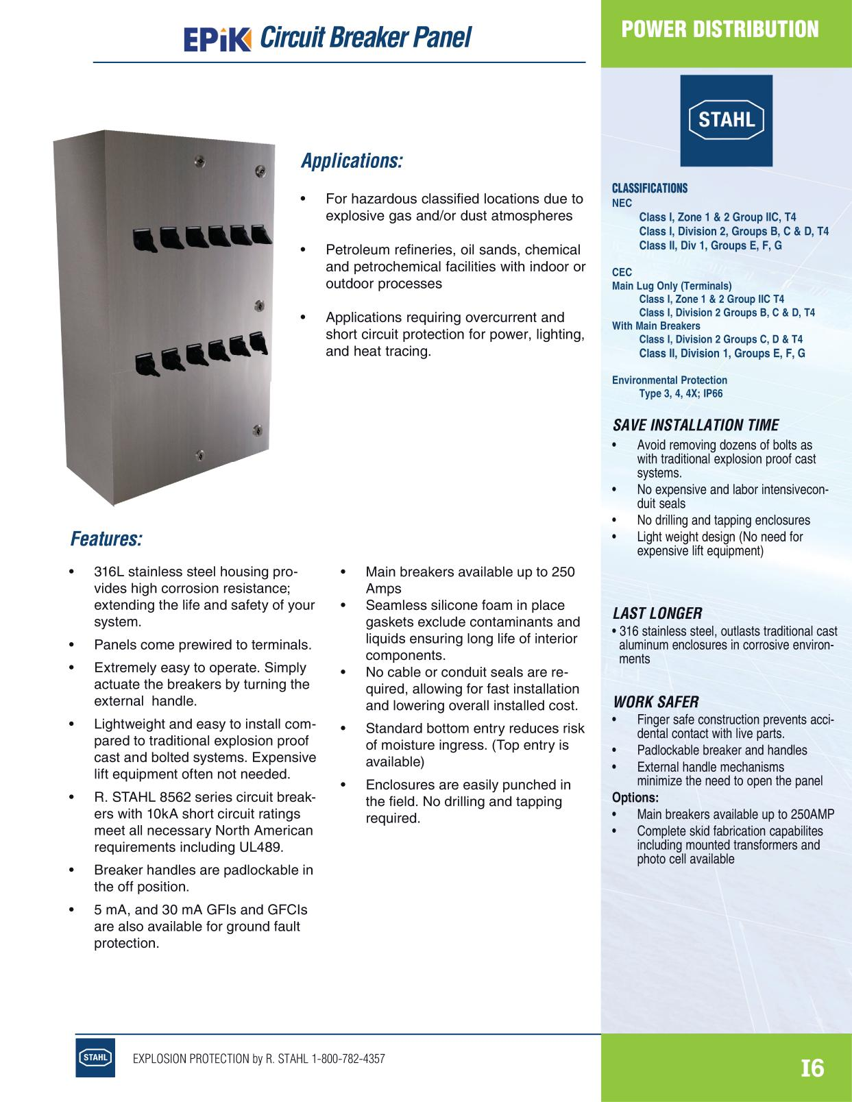 Distribution R Stahl Electrical Catalog 9016 Page I6 Circuit Breaker Panel Image